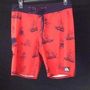 Quicksilver Red ,& Navy Board / surf Shorts Pants